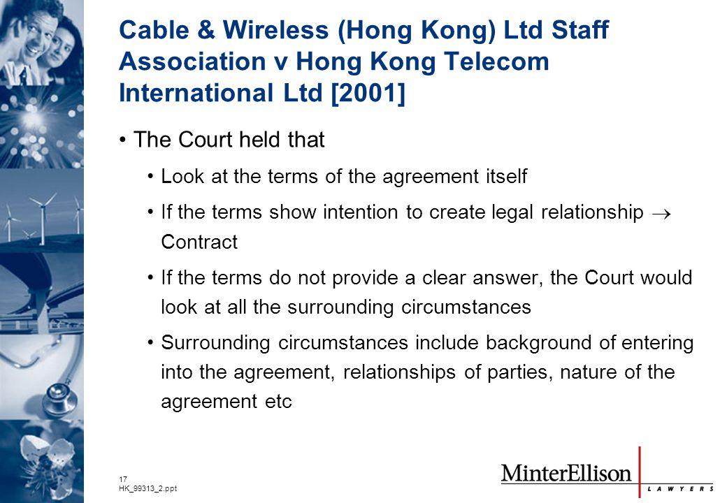 Cable & Wireless (Hong Kong) Ltd Staff Association v Hong Kong Telecom International Ltd [2001]